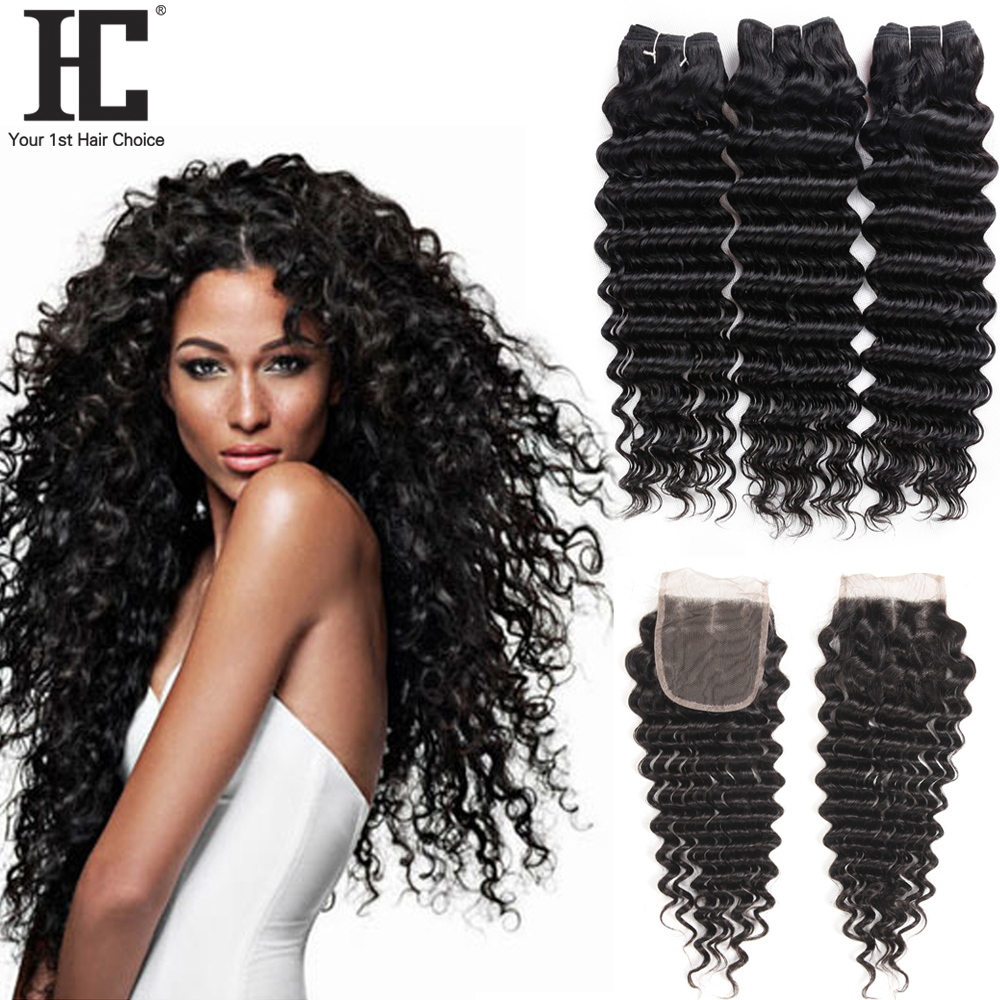 HC Deep Wave Bundles With Closure Human Hair Extensions With Closure Non Remy Brazilian Hair Weave 3 Bundles With Lace Closure