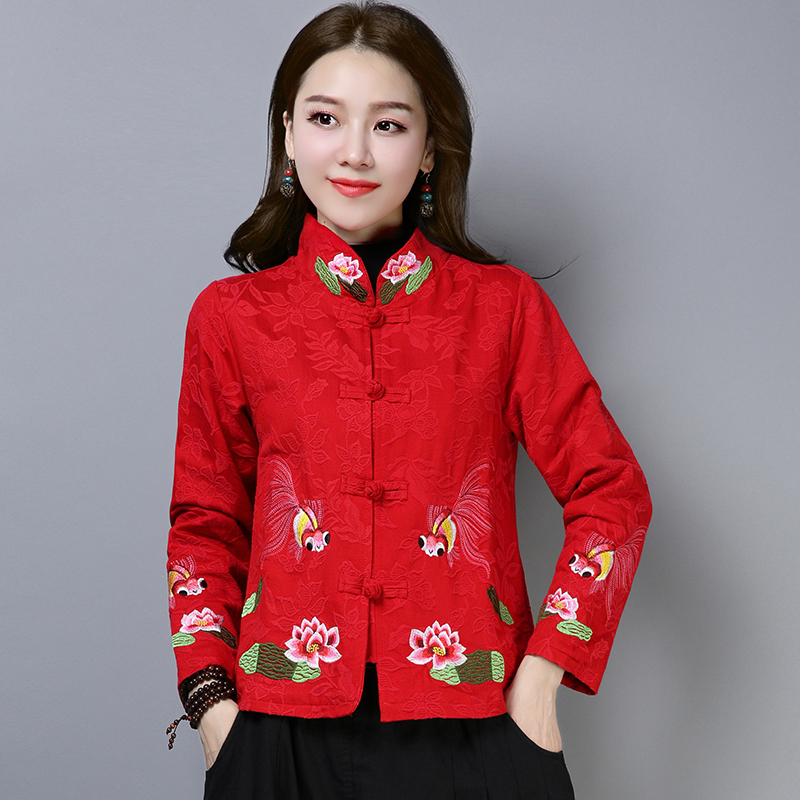 Women's 2018 Ladies Chinese Jackets Autumn National Wind Loose Embroidery Jacquard Long Sleeve Short Coat Traditional Tops