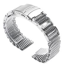 20mm 22mm 24mm Silver Stainless Steel Shark Mesh Watch Band Men Women Replacement Wrist Strap Fold Over Clasp 18mm stainless steel wrist watch band with fold over clasp with push bottom