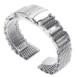 20mm 22mm 24mm de lujo de plata de acero inoxidable tiburón malla reloj banda hombres mujeres reemplazo de reloj de pulsera correas de doble cierre