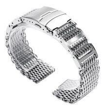 20mm 22mm 24mm luksusowy srebrny ze stali nierdzewnej Shark pasek od zegarka z siatki mężczyźni kobiety wymiana opaski do zegarka pasek krotnie nad zapięciem