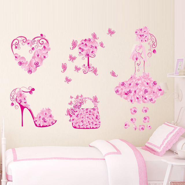 Flowers Bag Shoes Butterflies Wall Stickers For Girls Room ...