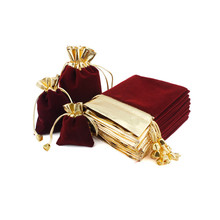 7x9 9x12 12x16cm Velvet Drawstring Gifts Bags Wedding Christmas Party Favors Packaging Bag Gold Wine Red Jewelry Pouches