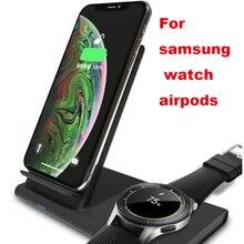 Qi estação de desktop carregador sem fio magnético para iphone 8 xr carregamento para samsung galaxy assista botões ativos engrenagem s2 s3 s4 esporte