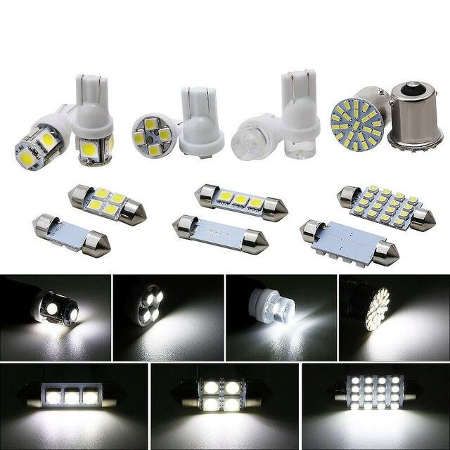 Lámpara de bombilla de señal inversa automática 14 piezas blanco T10c cola de coche giro de freno Luz de circulación diurna luz de matrícula de coche lámparas de lectura