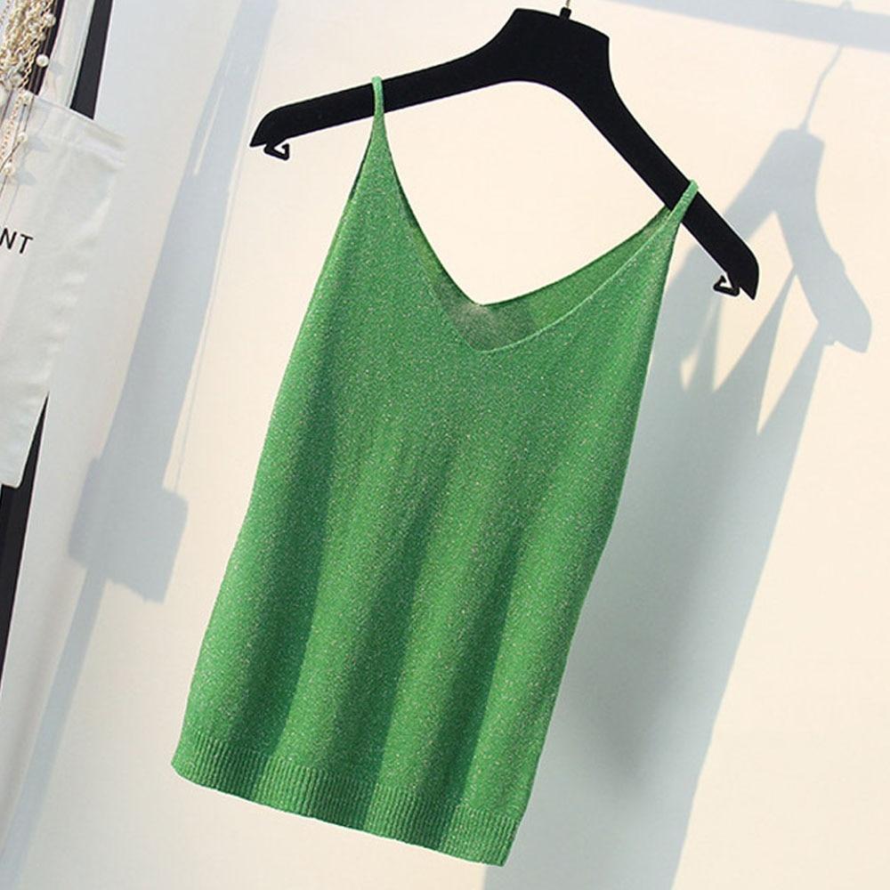 Quality Guaranteed Korean Slim Top Women Shining Knitting Apparels Casual All-Match Summer Bottom Camis Colorful Tank Tops 2019