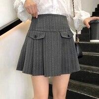 New Fashion Women Plaid Skirt Plus Size Pleated Skirt Female Korean Button Loose Casual High Waist Summer Short Skirt Female