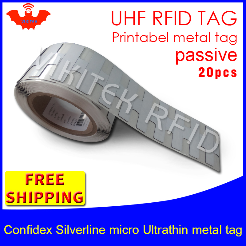 UHF RFID ultrathin metal tag confidex silverline micro 915m 868m Monza4QT EPC 20pcs free shipping small printable PET RFID label hw v7 020 v2 23 ktag master version k tag hardware v6 070 v2 13 k tag 7 020 ecu programming tool use online no token dhl free