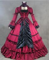 2016 Новый длинным рукавом оборками Хэллоуин платья Ренессанс викторианской бальные платья