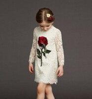 Milan Creations Girls Lace Dress 2016 Summer Girls Dresses Kids Clothes Rose Floral Princess Dress Girls