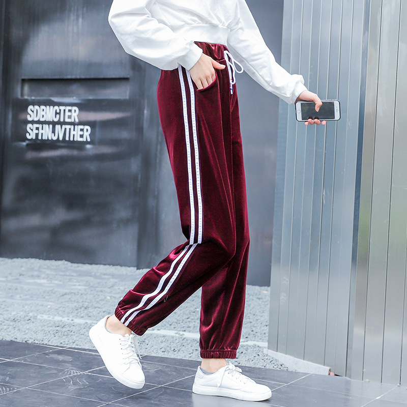 Fashion Velvet Sports   Pants   Female Autumn Night Sports   Pants   Female Students Loose Super Fire Leggings   Wide     Leg     Pants   Sweatpants