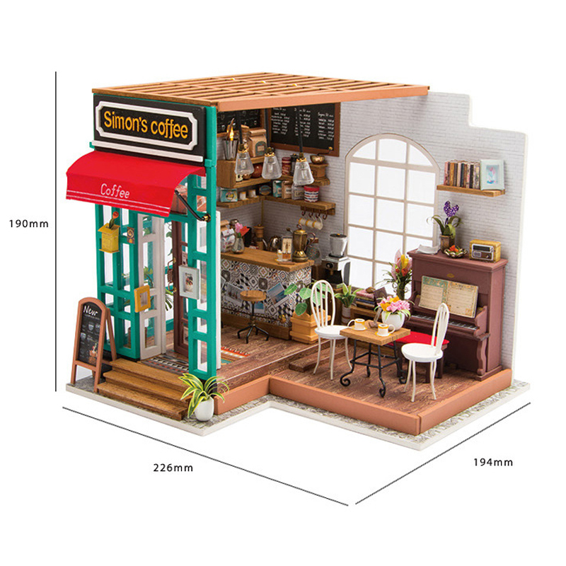 Doll House Miniature Diy With Furnitures Wooden House Handmade Assembly Model Puzzle Toy For Children Simon's Coffee Dg109 E