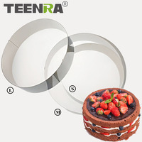 TEENRA 3Pcs Set 8 9 5 10 5 Inch Round Mousse Ring Mold Set Stainless Steel