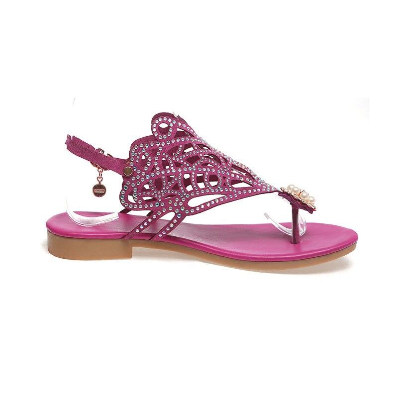 Rouge De 33 Cristal Mode Sandales Loisirs Chaussures Marque Noir Femmes Grande Perle Talons Femme 2019 Bas Ribetrini 40 D'été Taille rose vI7RRt