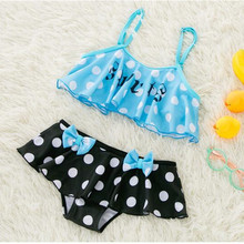 Funfeliz Cute Swimsuit for Girls 2-8Y Children Two Pieces Skirted Swimwear Kids Bathing Suits Ruffle Dot Baby Girl Swimming Suit цена