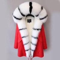 2018 натуральный мех лисы пальто Для женщин Зимняя парка куртка с длинным рукавом Цвет блок Повседневное внешний зимние рабочие женские паль
