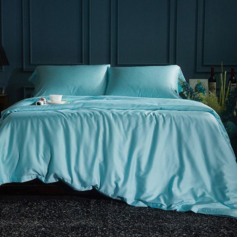 Satin De Soie Ensemble De Literie Solide Gris Bleu Couleur Polyester