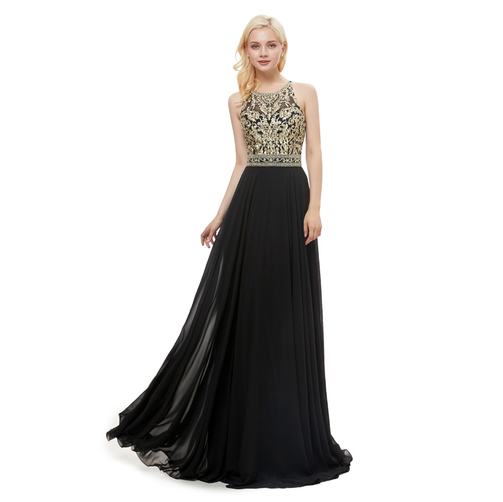Women Chiffon Long Bridesmaid Evening Dress Gold Applique Formal Party Prom Gown
