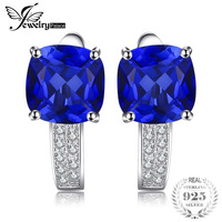 Hot Sale 4 79ct Blue Sapphire Clip Earrings Pure 925 Solid Sterling Silver Square Cut Vintage