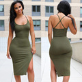 Sleeveless Knitted Black/Amy Green/Burgundy 2016 Summer Women Dress Casual Knee Length Sexy Bodycon Party Night Club Dress