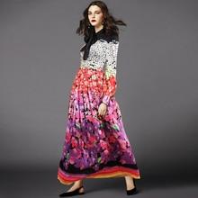 European 2018 autumn floral print long sleeves pleated dress Chic women elegant maxi D722