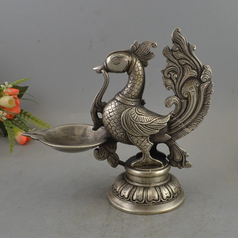 COLLECTIBLE DECORATED OLD HANDWORK SILVER COPPER PHOENIX BIG CANDLE STICKCOLLECTIBLE DECORATED OLD HANDWORK SILVER COPPER PHOENIX BIG CANDLE STICK