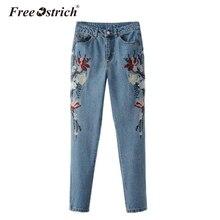 Free Ostrich 2017 High Waist Demin Jeans Long Pants  Floral Embroidery Denim Pants Women Female Aug30