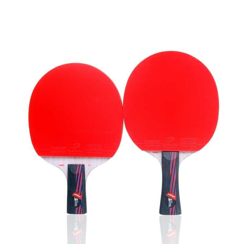 Raqueta de tenis de mesa profesional de fibra de carbono con doble cara y espinillas, tenis de mesa de goma con mango FL CS, pala de ping pong