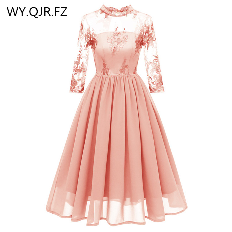 CD1661F#Lace Embroidery Chiffon Short Pleated   Bridesmaid     Dresses   Pink Wedding party   dress   gown prom wholesale fashion clothes
