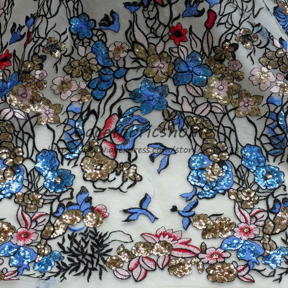 New gold blue mixed color sparkling sequins on net yarn embroidery lace fabric party dress stage