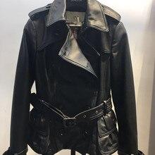 20190 облегающая женская куртка из овечьей кожи;