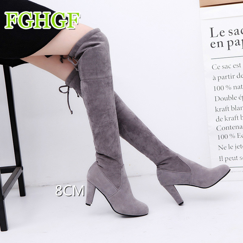 Faux Suede Women Over The Knee Boots Lace Up Sexy High Heels Shoes Woman Female Slim Thigh High Boots Winter Shoes 34-43 smsl m3 black усилитель для наушников