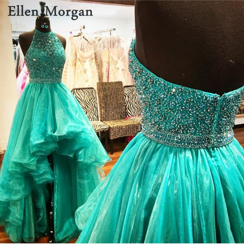 Sexy High Low   Prom     Dresses   for Girls 2019 Halter Floor Length Beads Organza Gala Long Ruway Vestido De Festa Party Gowns