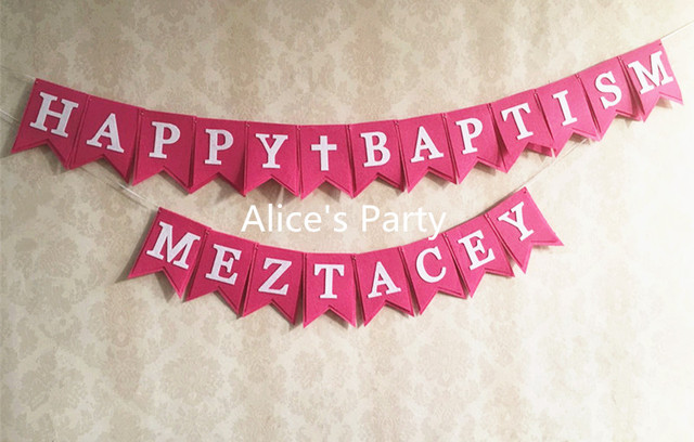 handmade christening baptism party banner baby shower decor