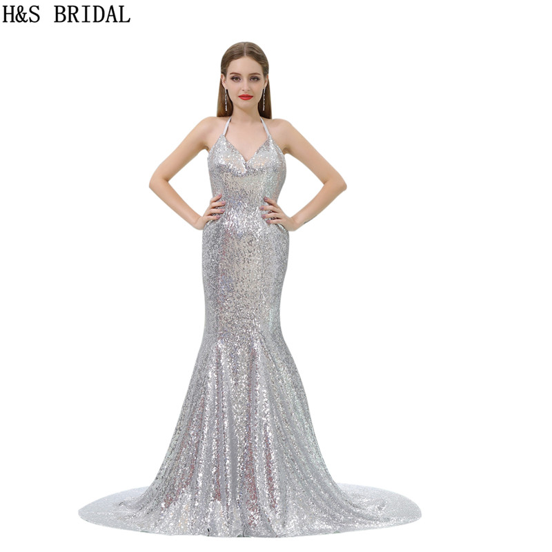 H&S BRIDAL Halter Sliver Sequin mermaid   evening     dress   long Sexy Backless Cheap   evening   gown V Neck robe de mariee