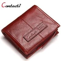 CONTACT S Wallet Women Genuine Leather Wallet Short Purse Ladies Brand Designer Women Card Holder Women