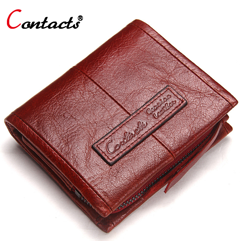 CONTACT S Genuine Leather Women Wallet Female Purse Men Wallet Red Leather Wallet Small Credit Card