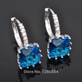 Exquisite Blue Stone Cubic Zirconia Earrings For Women Silver Plated filled Jewelry Free Shipping  P01536