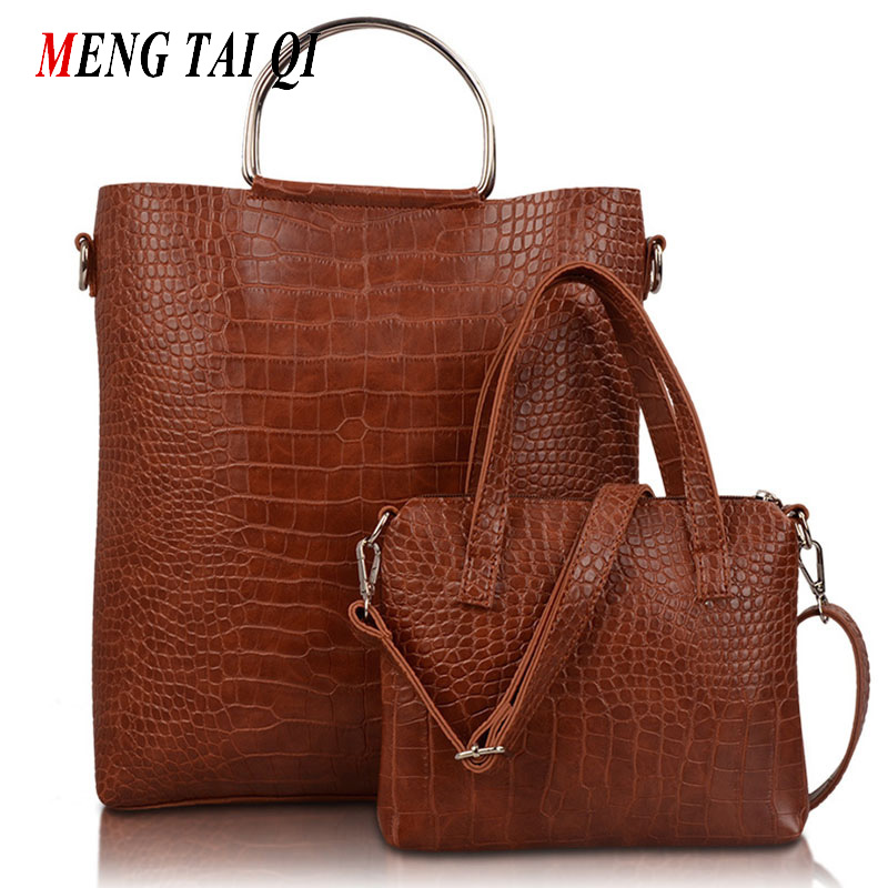 ФОТО Women messenger bags women bag luxury brand leather handbags shoulder bags ladies Crocodile pattern tote 2017 composite bag 5