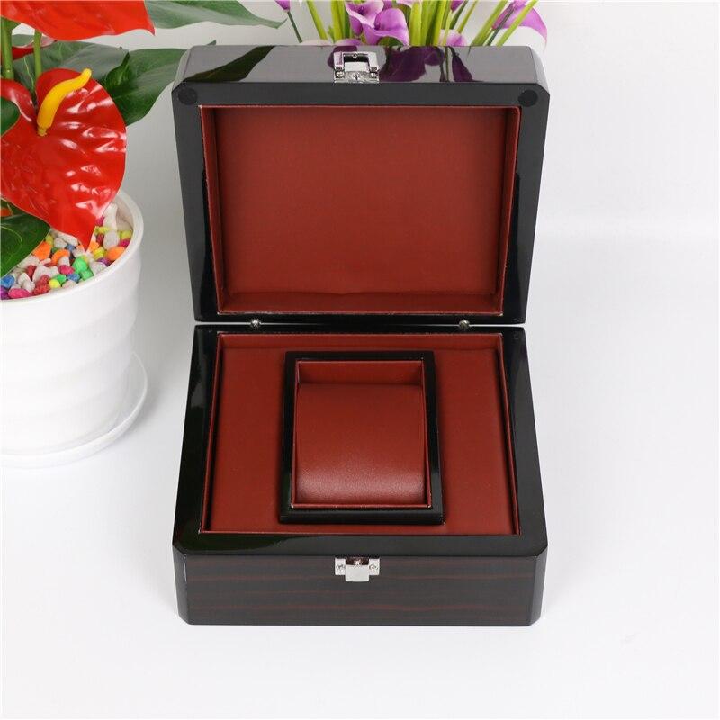 Piano peinture montre boîte de rangement avec serrure noir montre boîtes mode bijoux cadeau boîte avec oreiller montre affichage hommes boîte A23-in Boîtes à montres from Montres    1