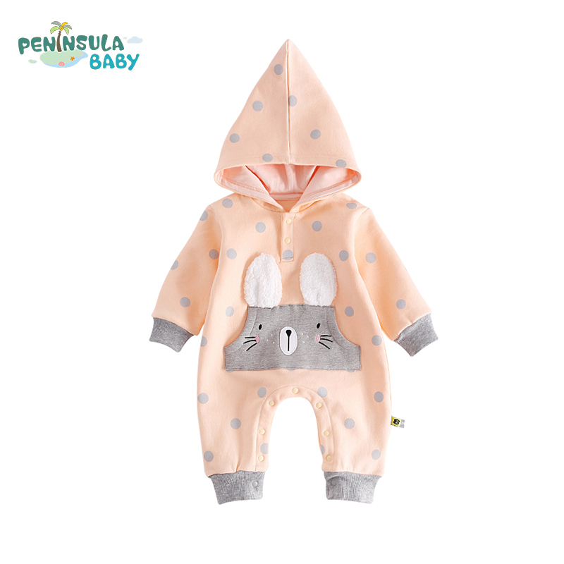 Long Sleeve Hooded Newborn Clothes Casual Cute Baby Girls Boys Cartoon Jumpsuits Autumn Cotton Child Soft Warm Rompers baby rompers 2016 spring autumn style overalls star printing cotton newborn baby boys girls clothes long sleeve hooded outfits