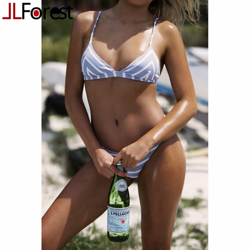 JLFOREST Brand Triangle Bikini Set Blue White Striped Bikinis 2017 New Summer Swimwear Women Sexy Push Up Bathing Suit Beachwear женское бикини bikini new brand 2015 push up women bikinis set