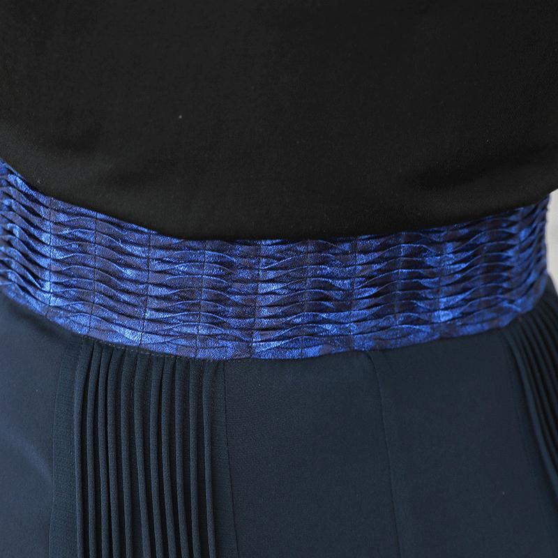 Otoño Seda Vintage K569 Las Mujeres Alta Fiesta De Tamaño Largos Cintura Pantalones Marino Azul Voa Gran w7Cf5q87