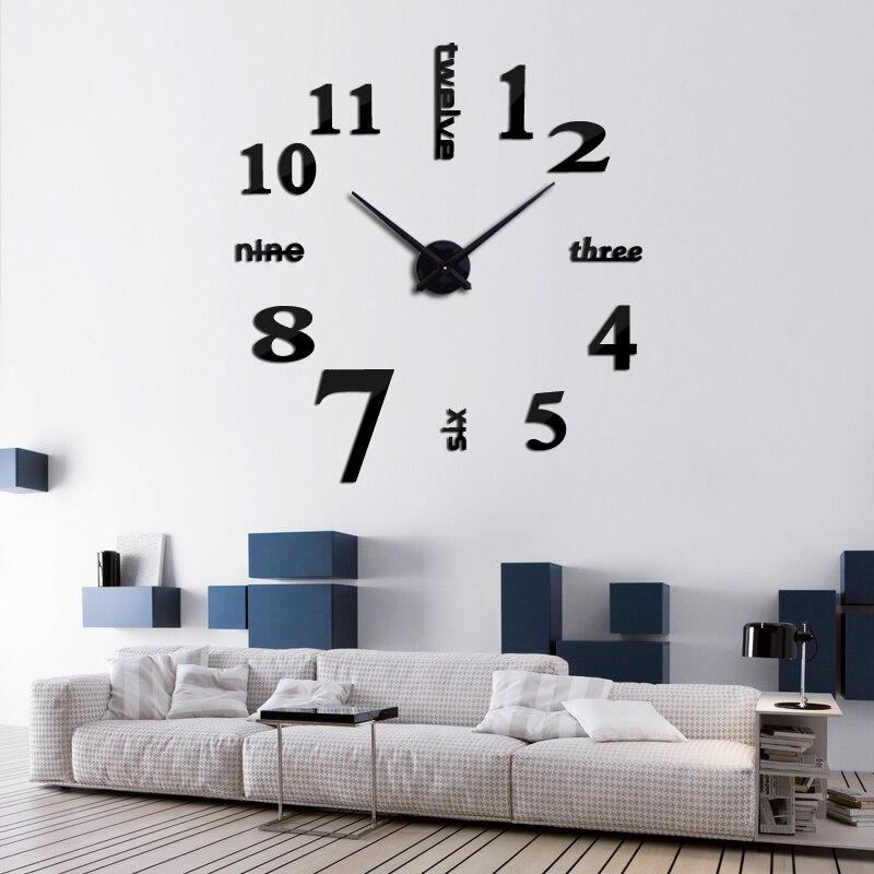 hot 3d large wall clock mirror wall stickers diy clock modern design horloge murale reloj de pared wand klok