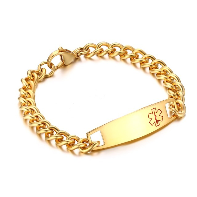 Free Custom Engraving Bracelets Men S Gold Tone Stainless Steel Medical Alert Id Link Chain Bracelet For