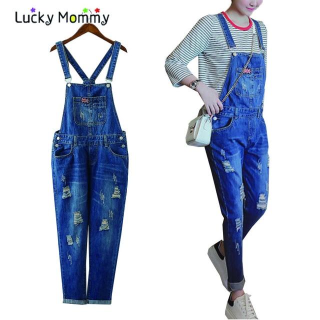 Buracos moda Jeans Maternidade Calças Calças Macacões Macacão Jumpsuite Elegante Casual Clothes Gravidez para As Mulheres Grávidas