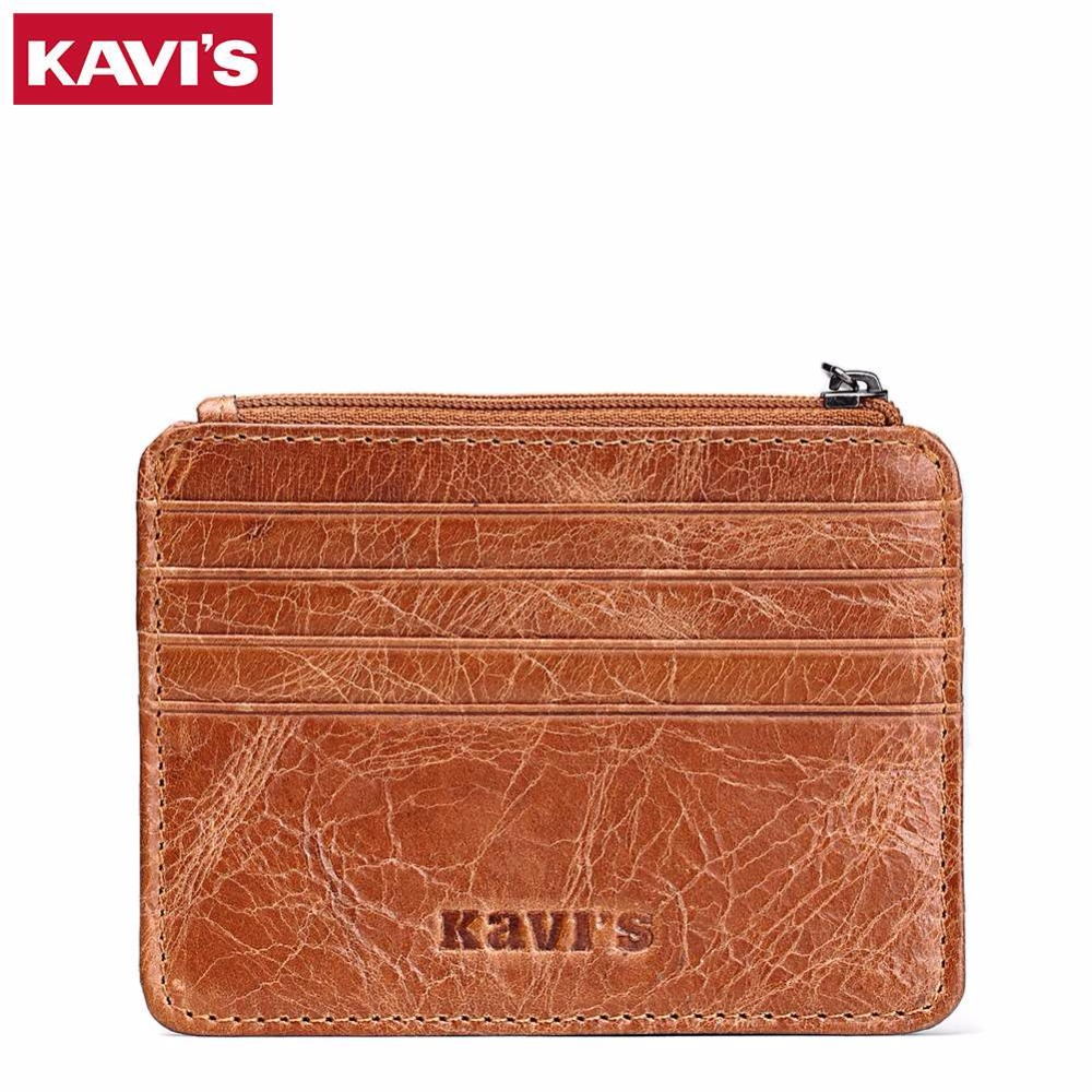 KAVIS Genuine Leather Men Money Clips Fashion Pocket Clamp For Money Holder Brand Design Wallet With ID Case Coin Card Hold