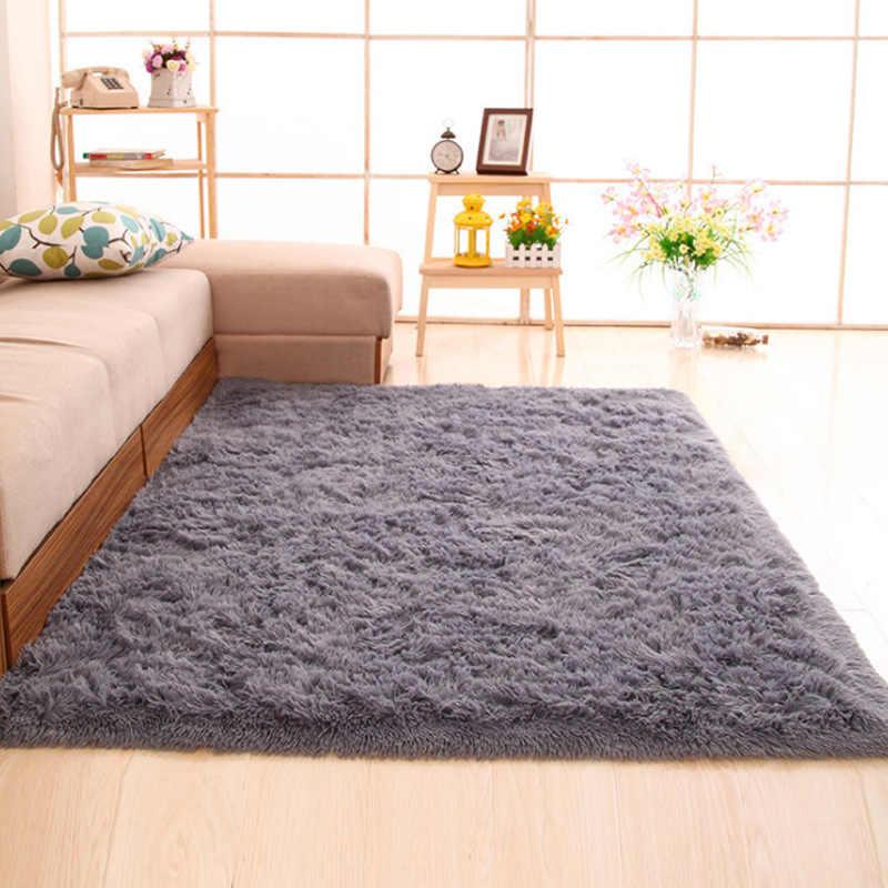Современные мохнатые ковры, коврик для гостиной, спальни, коврик для столовой, домашний декор, ковер, Нескользящие плюшевые напольные коврики, пушистые коврики