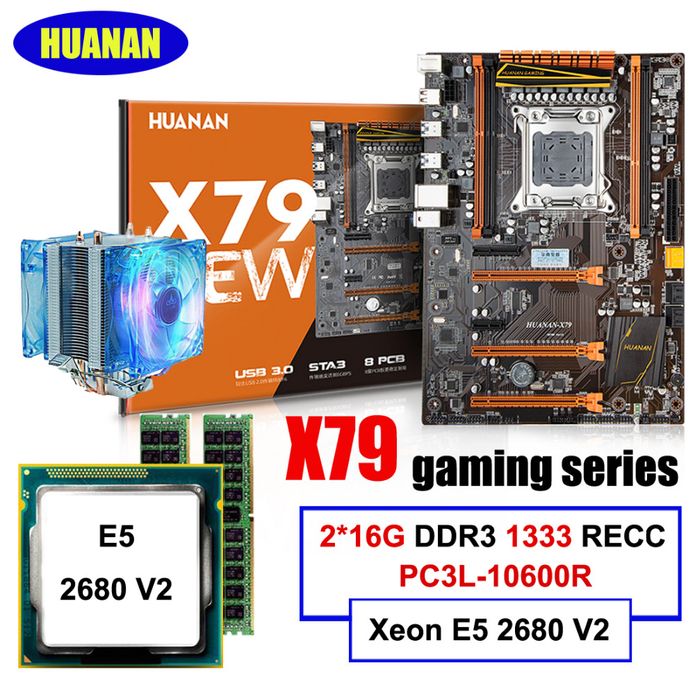 Hot selling HUANAN deluxe X79 LGA2011 gaming motherboard Xeon E5 2680 V2 with cooler RAM 32G(2*16G) 1333MHz DDR3 RECC all tested