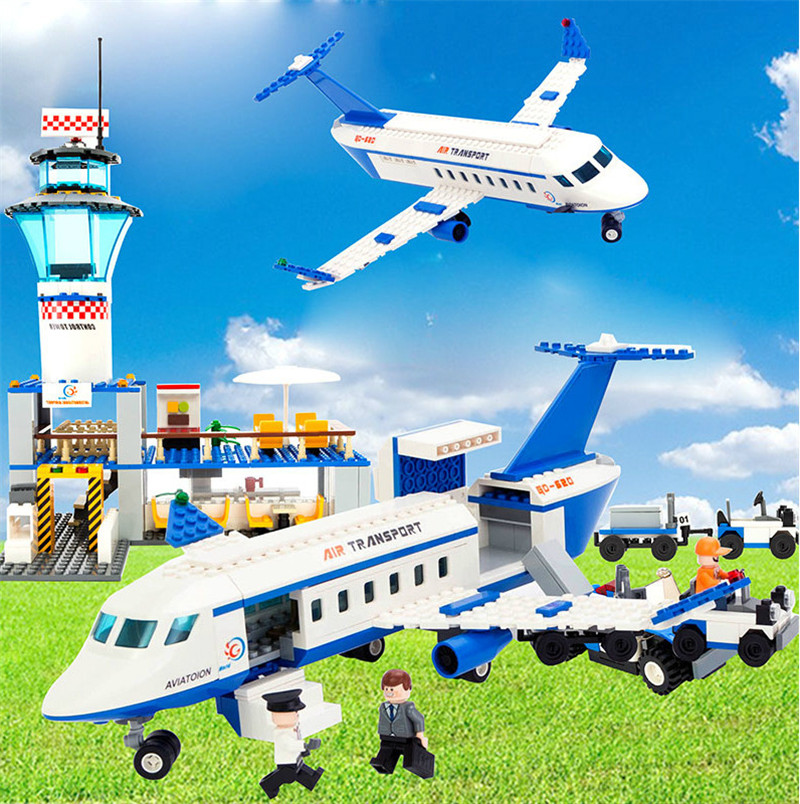Image 2 - City International Airport 652Pcs Aviation Aircraft Building Blocks Sets Bricks Model Kids Toys Creator Compatible Legoings-in Blocks from Toys & Hobbies